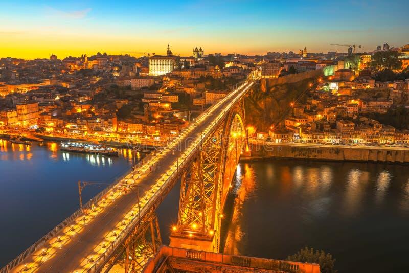 Horizonte de la puesta del sol de Oporto fotografía de archivo libre de regalías