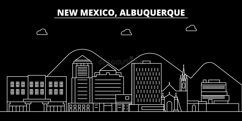 Horizonte de la silueta de Albuquerque LOS E.E.U.U. - Ciudad del vector de Albuquerque, arquitectura linear americana, edificios  stock de ilustración