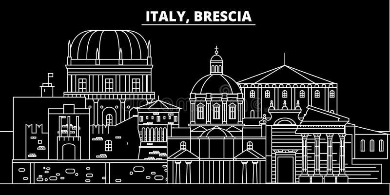 Horizonte de la silueta de Brescia Ciudad del vector de Italia - de Brescia, arquitectura linear italiana, edificios Viaje de Bre ilustración del vector