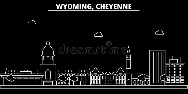 Horizonte de la silueta de Cheyenne LOS E.E.U.U. - Ciudad del vector de Cheyenne, arquitectura linear americana, edificios Viaje  ilustración del vector