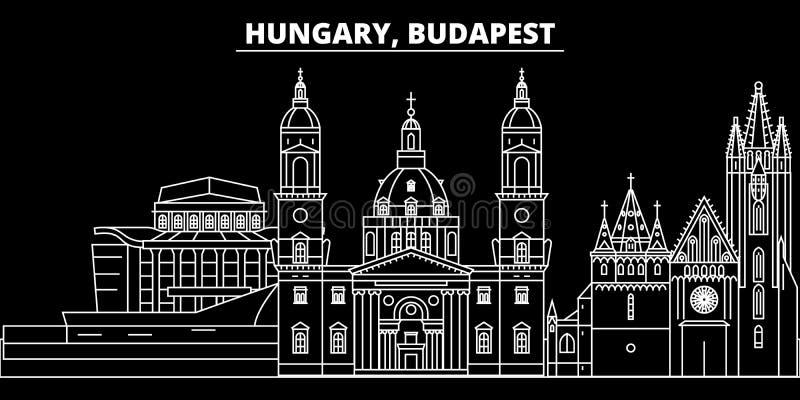 Horizonte de la silueta de la ciudad de Budapest Ciudad del vector de la ciudad de Hungría - de Budapest, arquitectura linear hún stock de ilustración