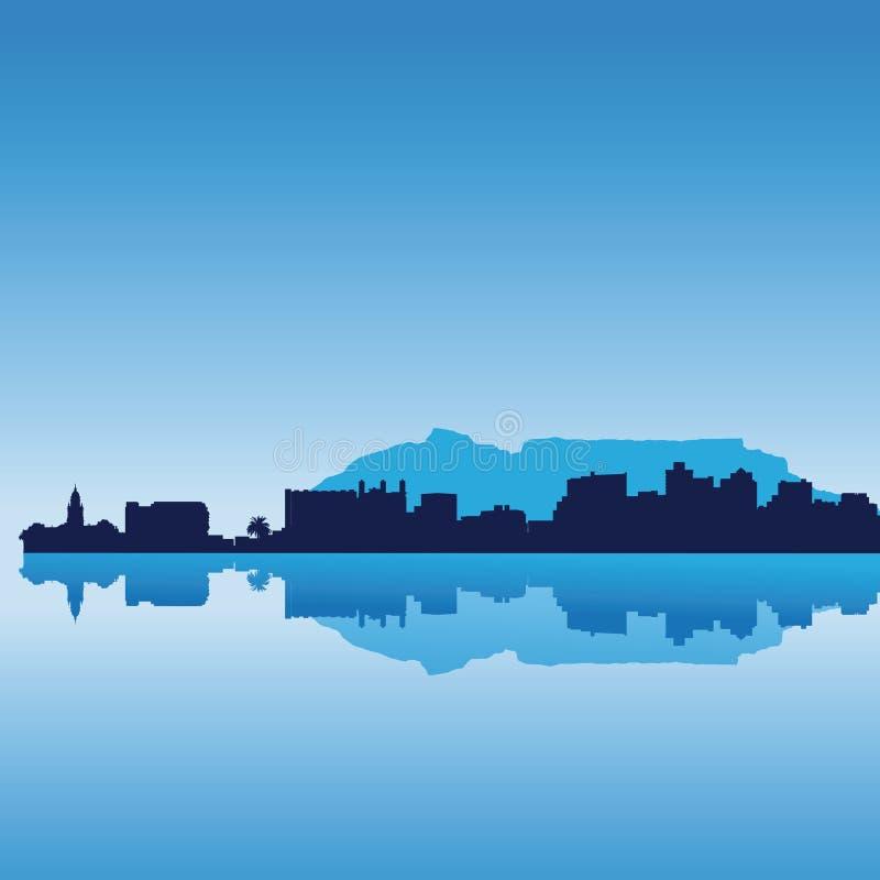 Horizonte de la silueta de Ciudad del Cabo ilustración del vector