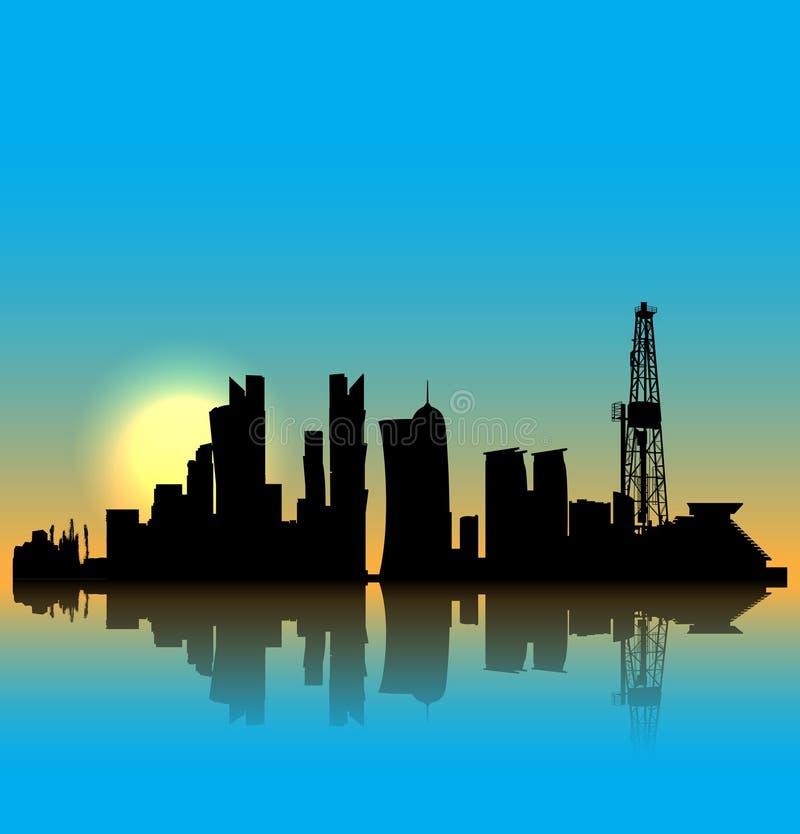 Horizonte de la silueta del vector de Doha libre illustration