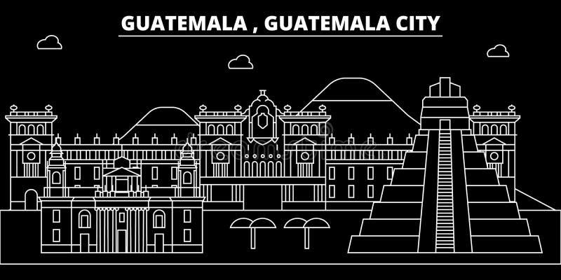 Horizonte de la silueta de Guatemala, ciudad del vector, arquitectura linear guatemalteca, edificios Ejemplo del viaje de ciudad  ilustración del vector