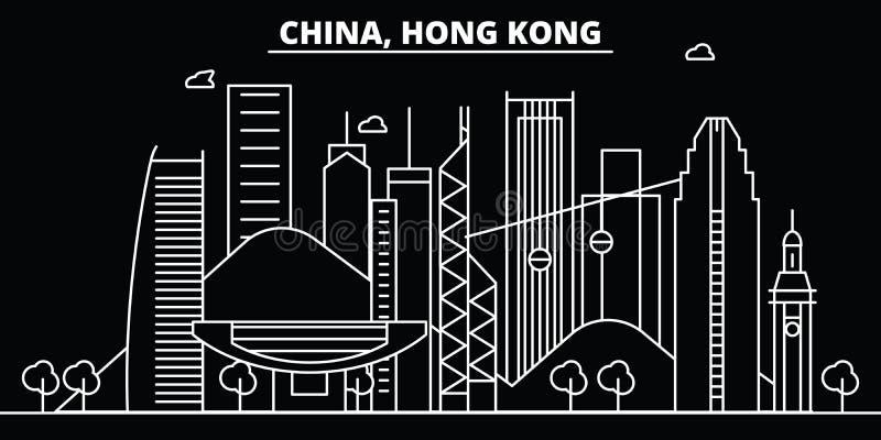 Horizonte de la silueta de Hong Kong Ciudad del vector de China - de Hong Kong, arquitectura linear china, edificios Línea de Hon stock de ilustración