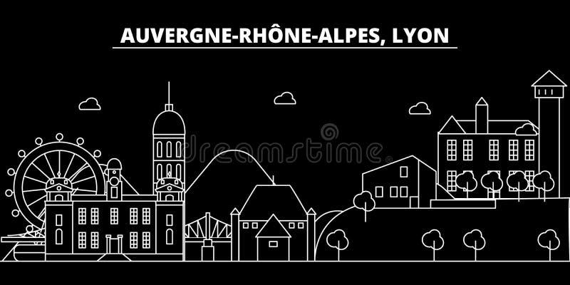 Horizonte de la silueta de Lyon Ciudad del vector de Francia - de Lyon, arquitectura linear francesa, edificios Ejemplo del viaje ilustración del vector