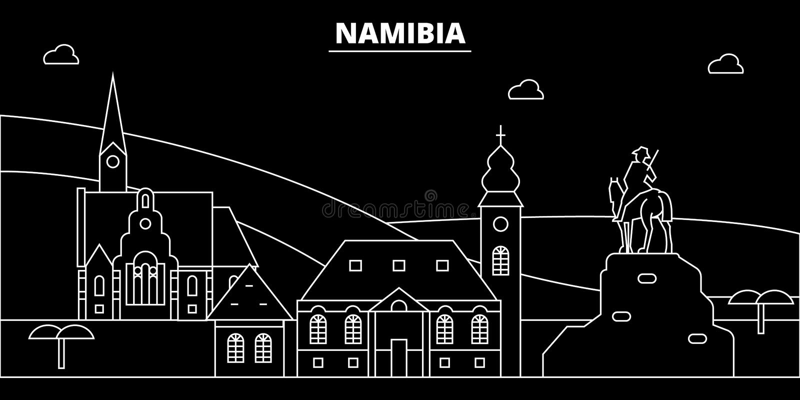 Horizonte de la silueta de Namibia, ciudad del vector, arquitectura linear namibiana, edificios Ejemplo del viaje de Namibia, esq libre illustration