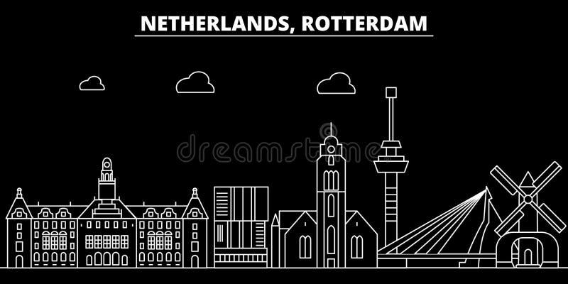 Horizonte de la silueta de Rotterdam Ciudad del vector de Países Bajos - de Rotterdam, arquitectura linear holandesa, edificios r stock de ilustración