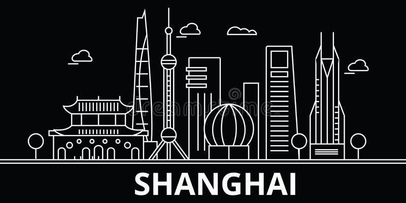 Horizonte de la silueta de Shangai Ciudad del vector de China - de Shangai, arquitectura linear china, edificios Viaje de Shangai libre illustration