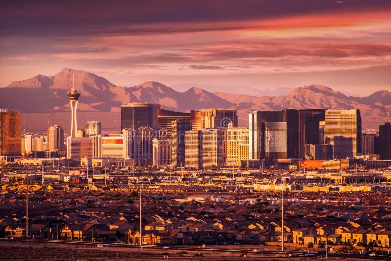 Horizonte de la tira de Las Vegas imagen de archivo