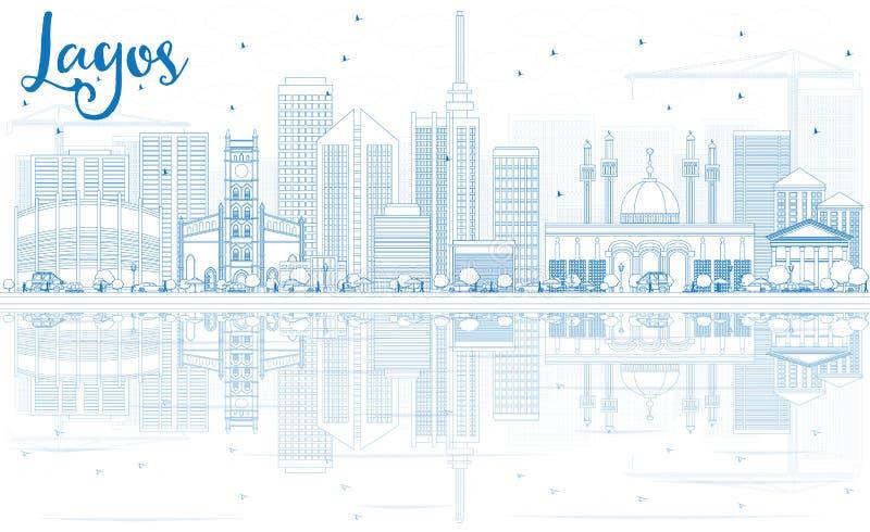 Horizonte de Lagos del esquema con los edificios azules y las reflexiones