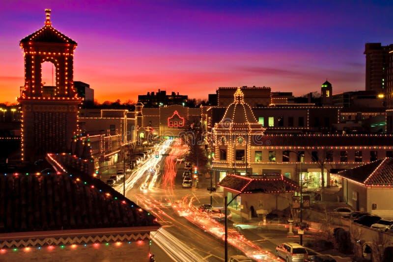 Horizonte de las luces de la Navidad de la plaza de Kansas City imagen de archivo