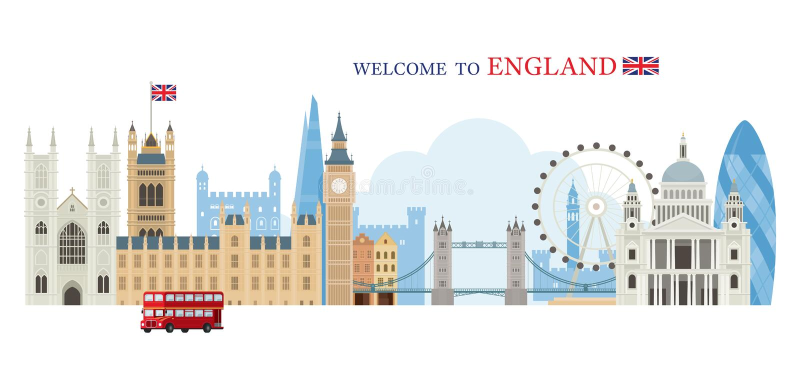 Horizonte de las señales de Londres, de Inglaterra y de Reino Unido stock de ilustración