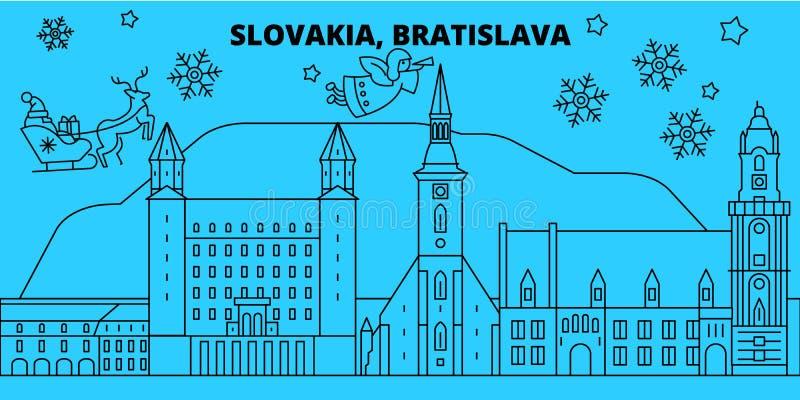 Horizonte de las vacaciones de invierno de Eslovaquia, Bratislava La Feliz Navidad, Feliz Año Nuevo adornó la bandera con Santa C ilustración del vector