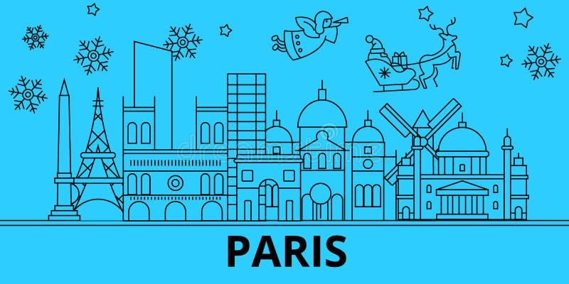Horizonte de las vacaciones de invierno de Francia, París La Feliz Navidad, Feliz Año Nuevo adornó la bandera con Santa Claus Fra ilustración del vector