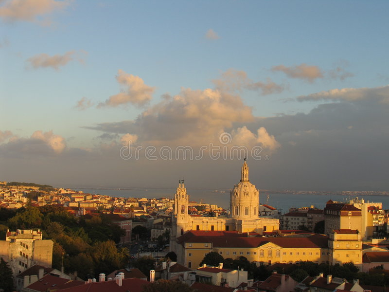 Horizonte de Lisboa fotos de archivo