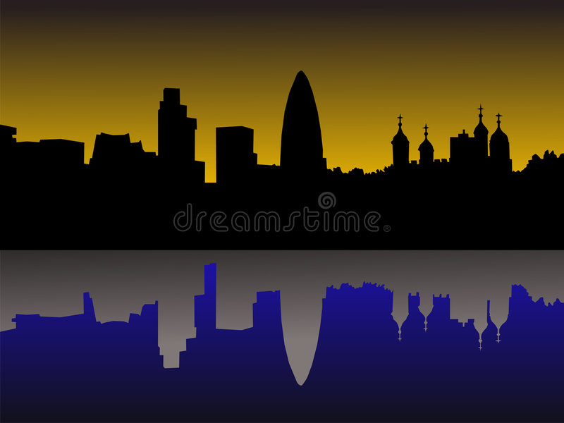 Horizonte de Londres en la puesta del sol ilustración del vector