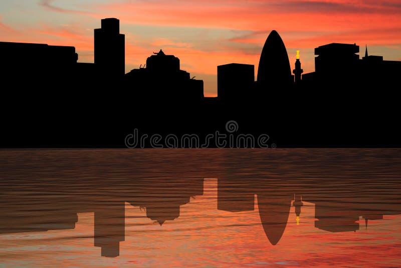 Horizonte de Londres en la puesta del sol stock de ilustración