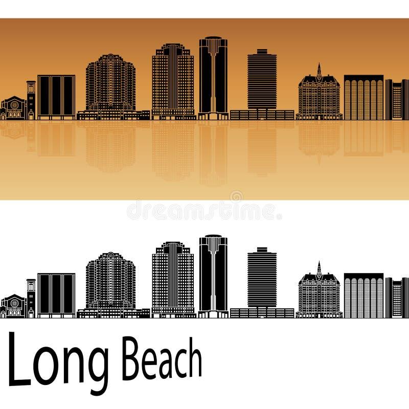 Horizonte de Long Beach V2 en naranja ilustración del vector