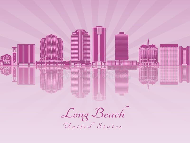 Horizonte de Long Beach V2 en orquídea radiante púrpura ilustración del vector