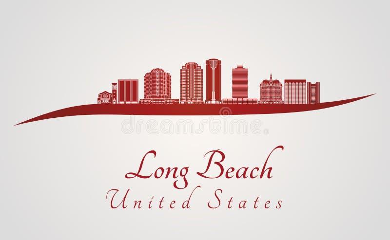 Horizonte de Long Beach V2 en rojo libre illustration
