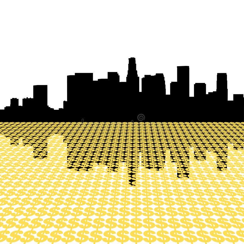 Horizonte de Los Ángeles con el dólar ilustración del vector