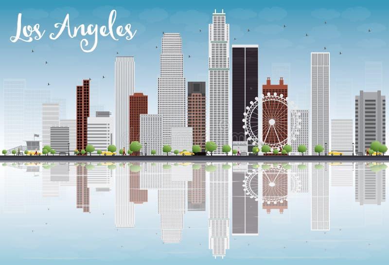 Horizonte de Los Ángeles con Grey Buildings y el cielo azul stock de ilustración