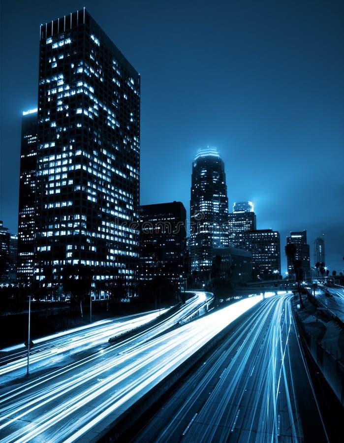 Horizonte de Los Ángeles en la noche fotografía de archivo libre de regalías