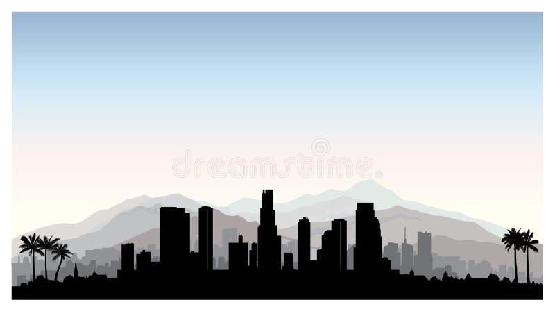 Horizonte de Los Ángeles, los E.E.U.U. Silueta de la ciudad con el edificio del rascacielos libre illustration