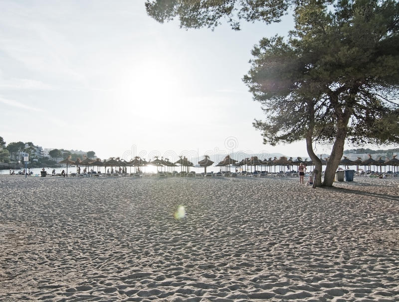 Horizonte de los parasoles de la playa de Santa Ponsa fotografía de archivo libre de regalías
