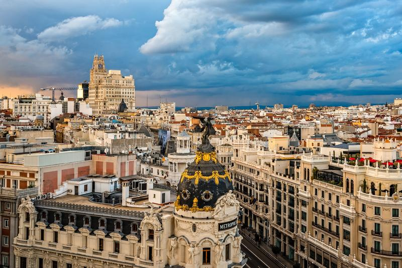 Horizonte De Madrid Del Tejado De Circulo De Bellas Artes