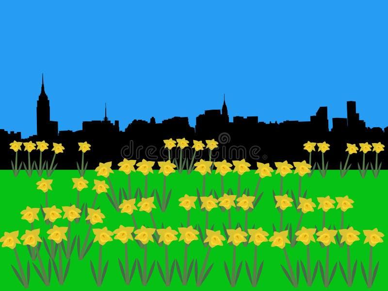Horizonte de Manhattan del Midtown stock de ilustración