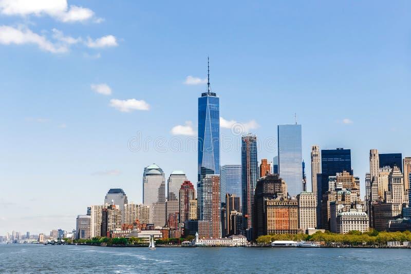 Horizonte de Manhattan del panorama de New York City imágenes de archivo libres de regalías