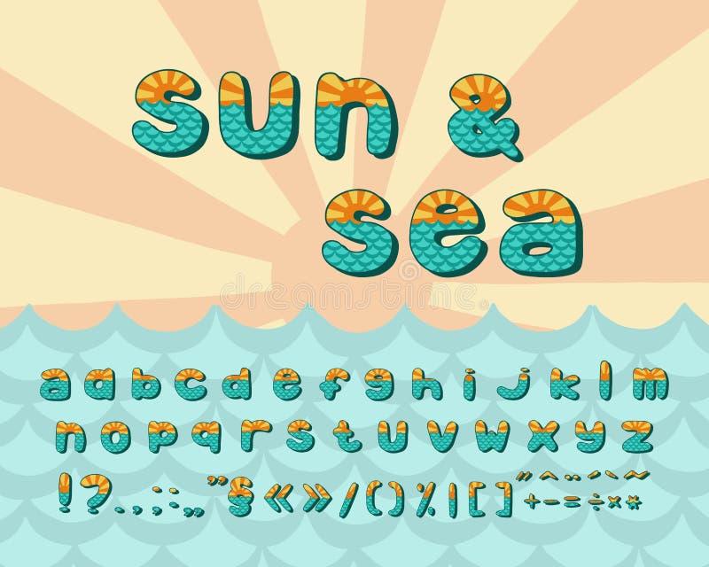 Horizonte de mar del alfabeto, diseño del vintage Sun irradia, y el mar agita el color de la aguamarina, estilo retro Tipografía  ilustración del vector
