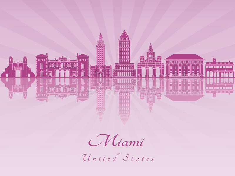 Horizonte de Miami en orquídea radiante púrpura ilustración del vector