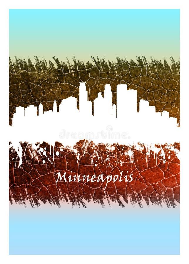 Horizonte de Minneapolis azul y blanco libre illustration