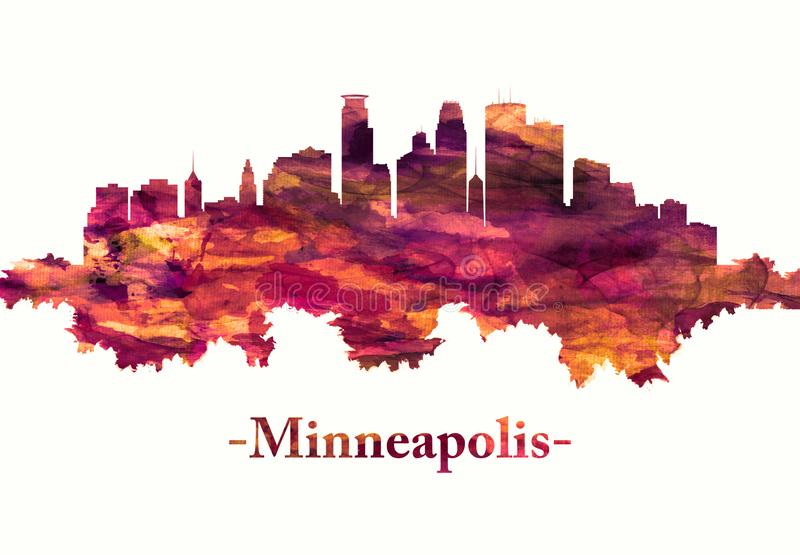 Horizonte de Minneapolis Minnesota en rojo ilustración del vector