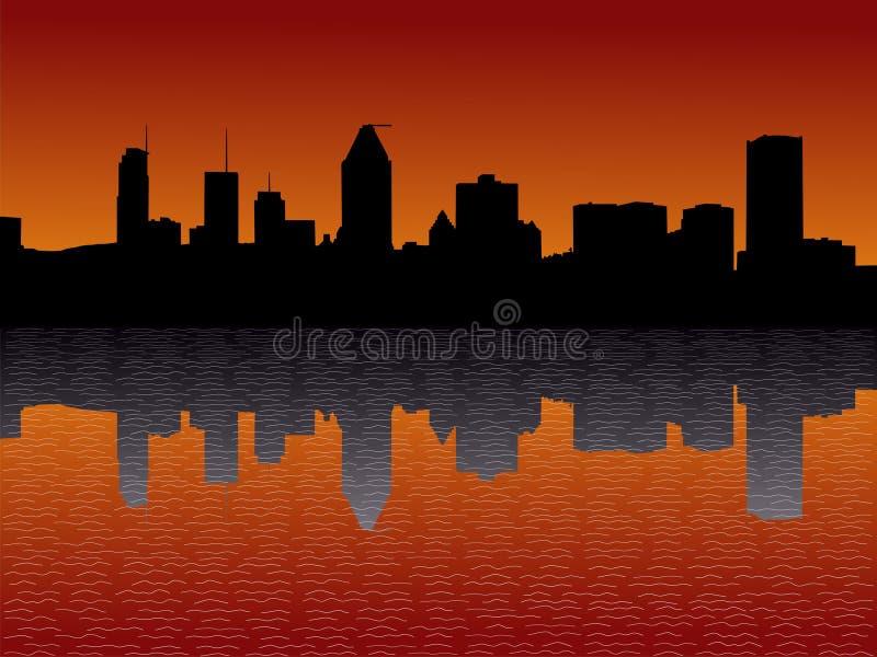 Horizonte de Montreal en la puesta del sol ilustración del vector