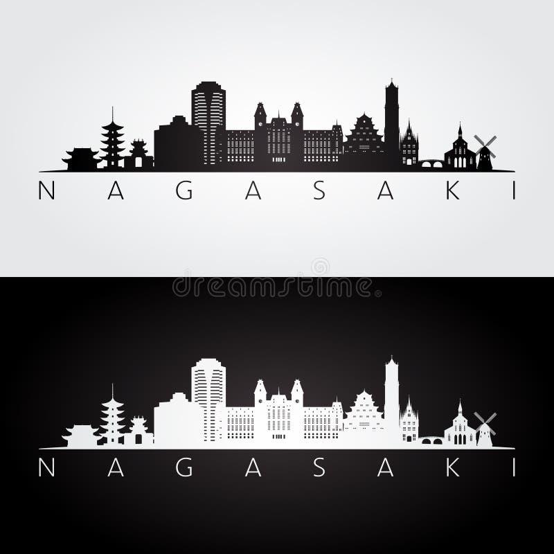 Horizonte de Nagasaki y silueta de las señales ilustración del vector