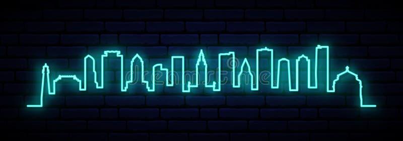 Horizonte de neón azul de la ciudad de Miami ilustración del vector