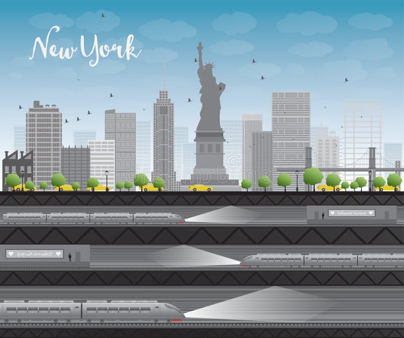 Horizonte de New York City con el cielo azul, las nubes, el taxi amarillo y el tra stock de ilustración