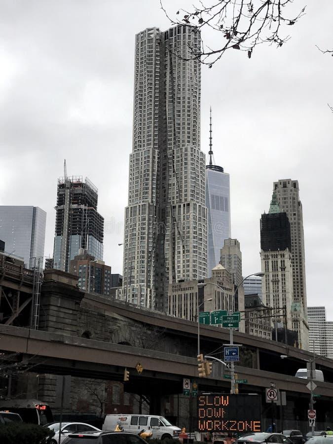 Horizonte de New York City en diciembre fotografía de archivo libre de regalías