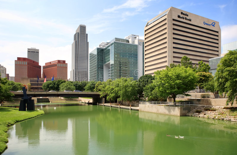 Horizonte de Omaha céntrica, Nebraska imagen de archivo libre de regalías