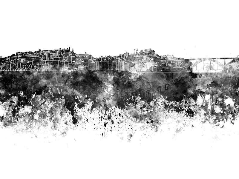 Horizonte de Oporto en acuarela negra stock de ilustración