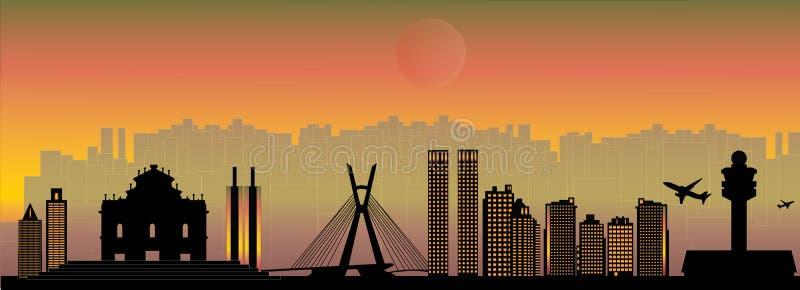 Horizonte de Paulo City del sao stock de ilustración