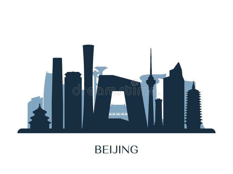 Horizonte de Pekín, silueta monocromática libre illustration