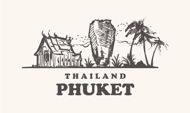 Horizonte de Phuket, mano del ejemplo del vector del vintage de Tailandia dibujada stock de ilustración