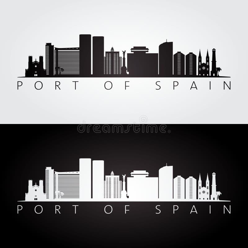 Horizonte de Puerto España y silueta de las señales libre illustration