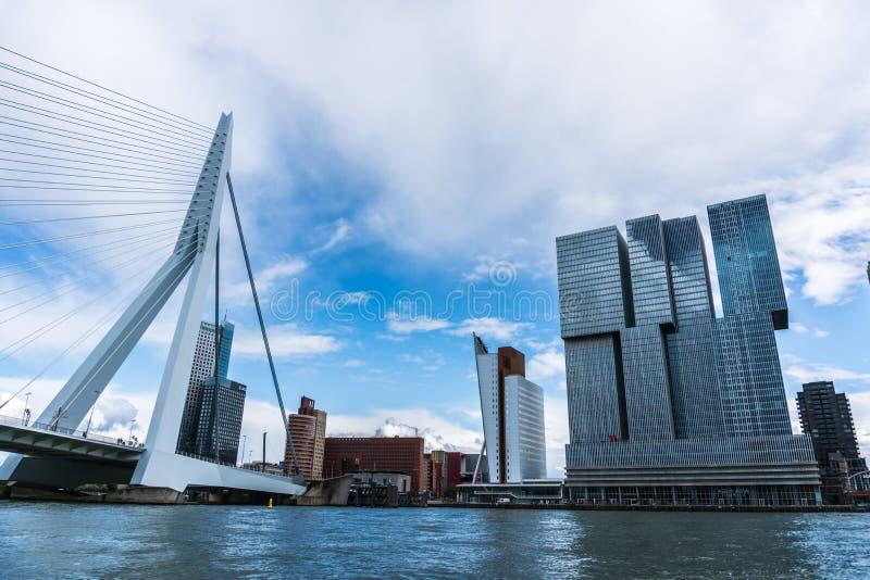 Horizonte de Rotterdam con la vecindad de Erasmus Bridge Kop van Zuid, los Países Bajos fotos de archivo