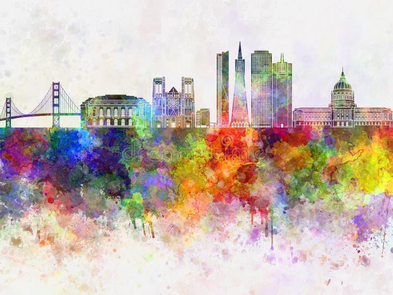 Horizonte de San Francisco en el wb ilustración del vector